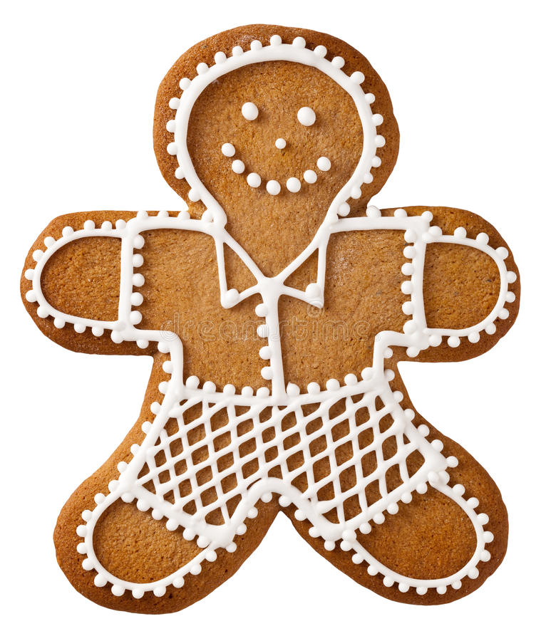 Christmas Gingerbread. Man isolated on white background royalty free stock photography
