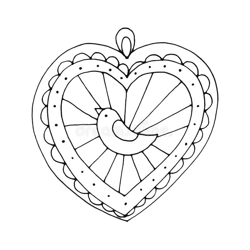Christmas gingerbread ball heart with bird isolated on white background. Holiday design for greeting cards, calendars, posters, prints, invitations vector illustration