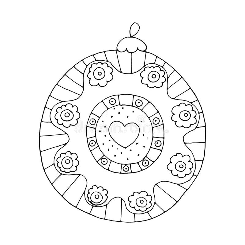 Christmas gingerbread ball with heart and flower isolated on white background. Holiday design for greeting cards, calendars, posters, prints, invitations stock illustration