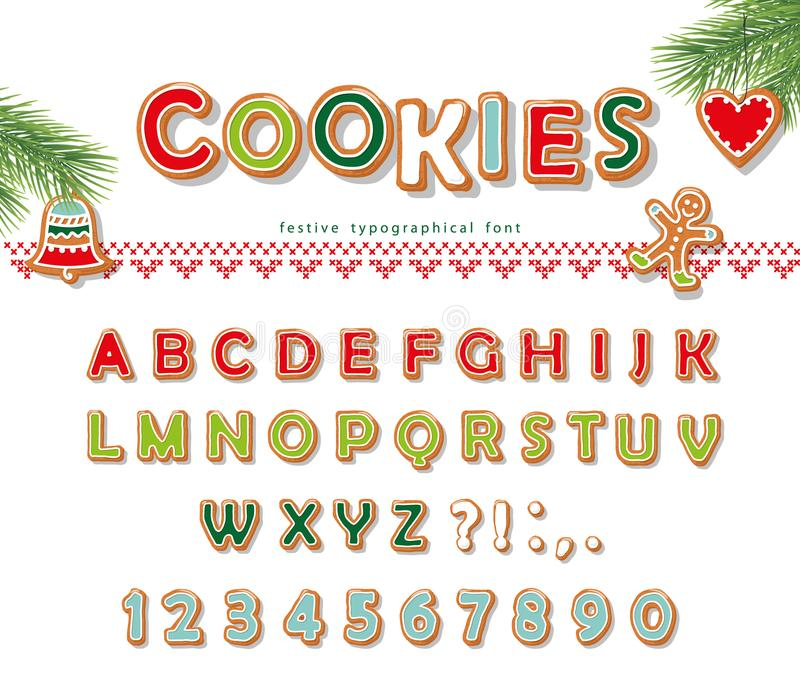 Christmas Gingerbread Cookie font. Biscuit letters and numbers. Vector. EPS10 royalty free illustration