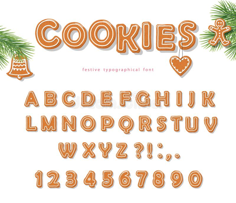 Christmas Gingerbread Cookie font. Biscuit letters and numbers. Vector EPS10 vector illustration