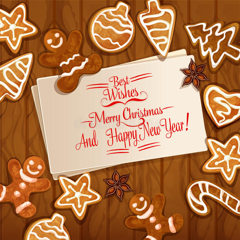 Christmas gingerbread cookie on wooden background. Christmas gingerbread man, xmas tree and ball, candy cane, star, heart cookie and anise placed around greeting stock illustration