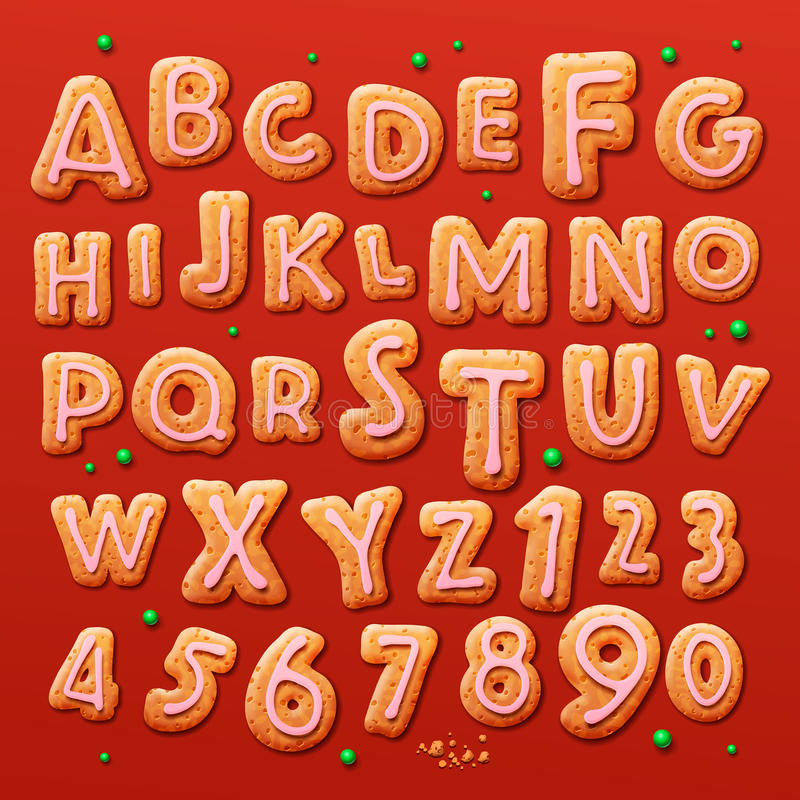 Christmas gingerbread cookies alphabet and numbers stock illustration