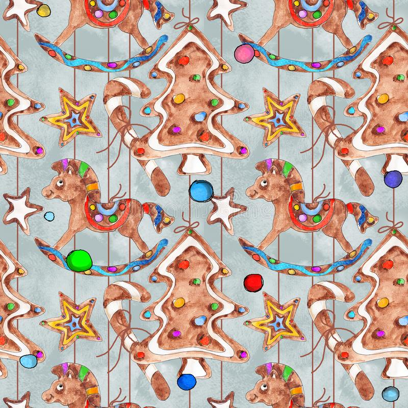 Christmas Gingerbread cookies  candies dragee lollipop  watercolor  hand drawn artistic vintage seamless pattern stock illustration