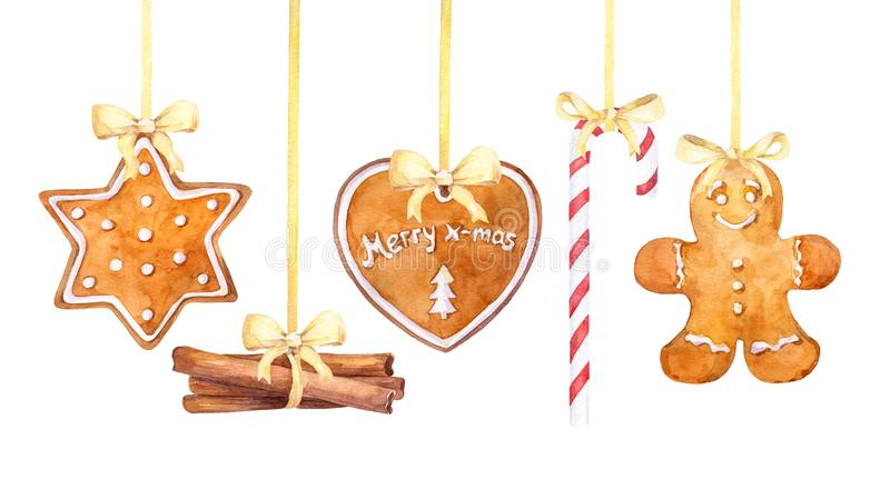 Christmas gingerbread cookies, candy cane and cinnamon sticks hanging border on a white background. royalty free illustration