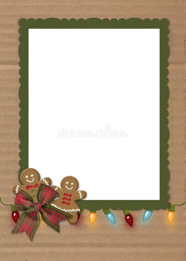 Christmas gingerbread cookies on cardboard stock illustration