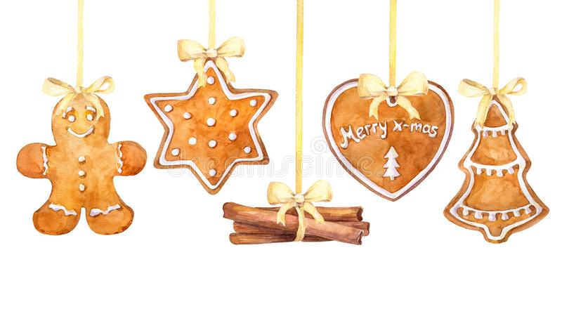 Christmas gingerbread cookies and cinnamon sticks hanging border on a white background. royalty free illustration