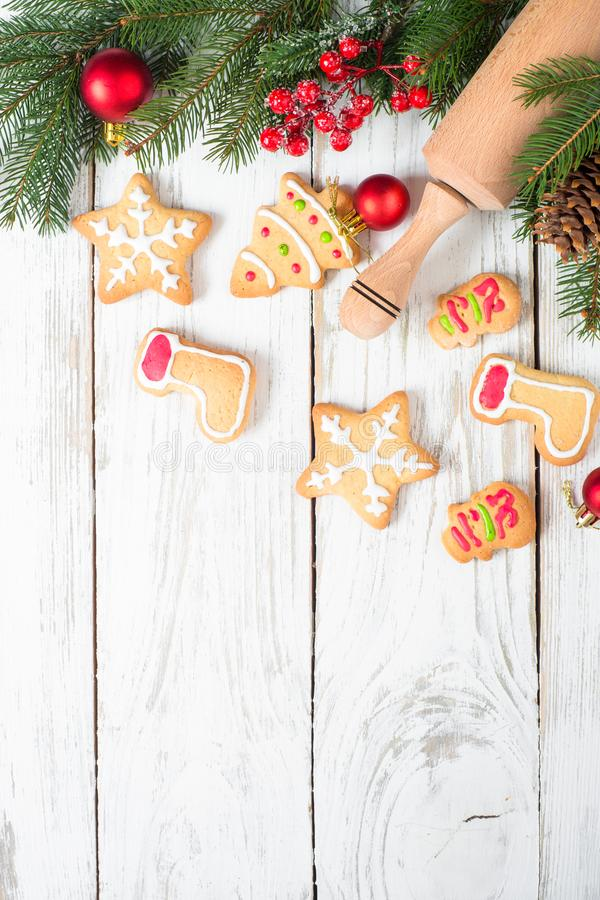 Christmas gingerbread cookies on white. stock image