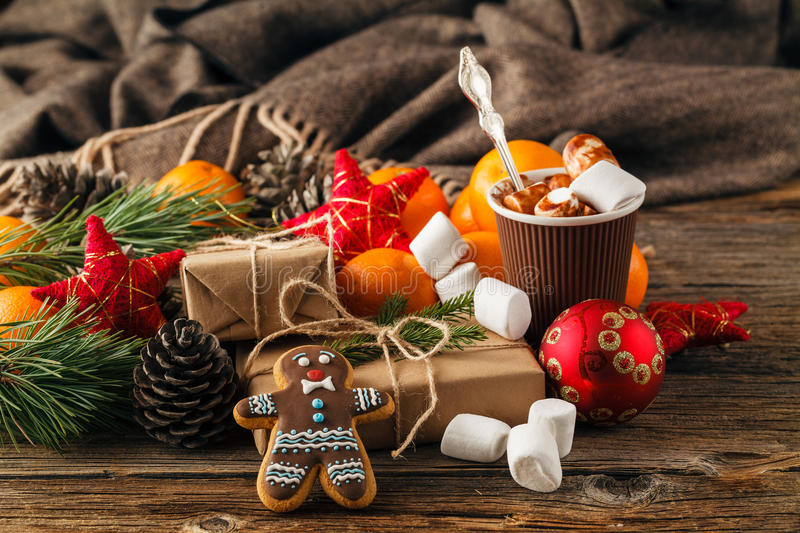 Christmas gingerbread cookies in a gift box on a table close-up. horizontal stock images
