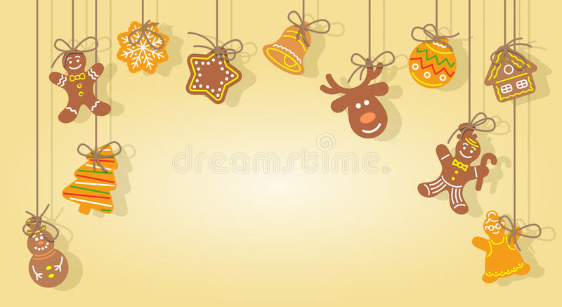 Christmas gingerbread cookies hanging on the ropes vector background. Christmas gingerbread cookies hanging on the ropes vector horizontal festive background royalty free illustration