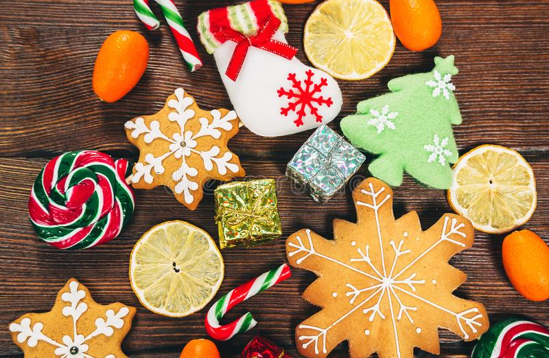Christmas background with homemade gingerbread cookies stock photography