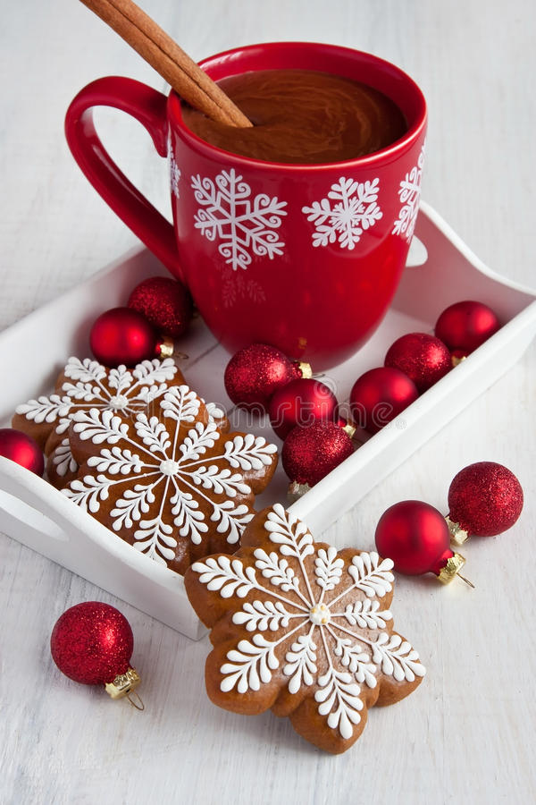 Download Christmas Gingerbread Cookies And  Hot Drink  With  Marshmallows Stock Photo - Image of icing, cinnamon: 64127382