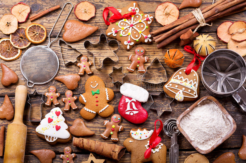 Christmas gingerbread cookies with ingredients for cooking royalty free stock image