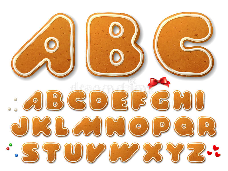 Christmas gingerbread cookies letters royalty free illustration