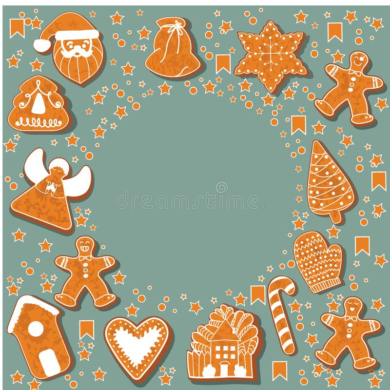 Christmas gingerbread cookies making a rectangular frame. illustration.Happy winter holidays poster. New year. Christmas vector illustration