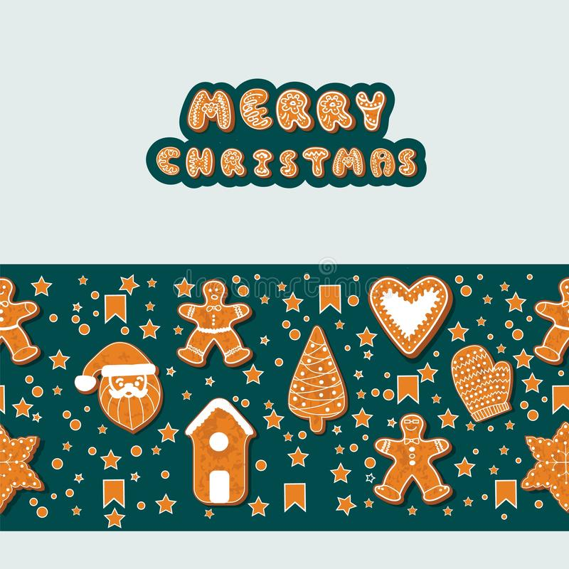 Christmas gingerbread cookies making a rectangular frame. Vector illustration.Happy winter holidays poster. New year stock illustration
