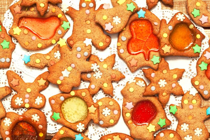 Christmas gingerbread cookies - Christmas and New Year holiday background royalty free stock image