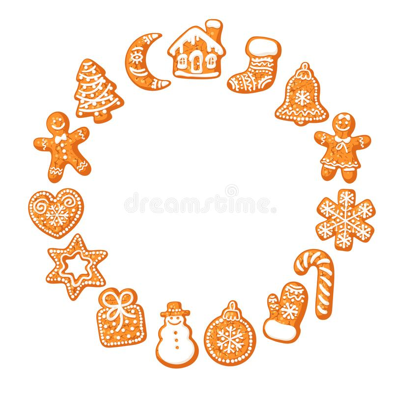 Christmas gingerbread cookies round frame. Hand drawn vector illustration isolated on white background. Hand drawn vector illustration