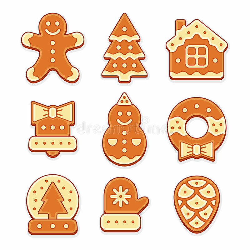 Christmas gingerbread cookies stock illustration