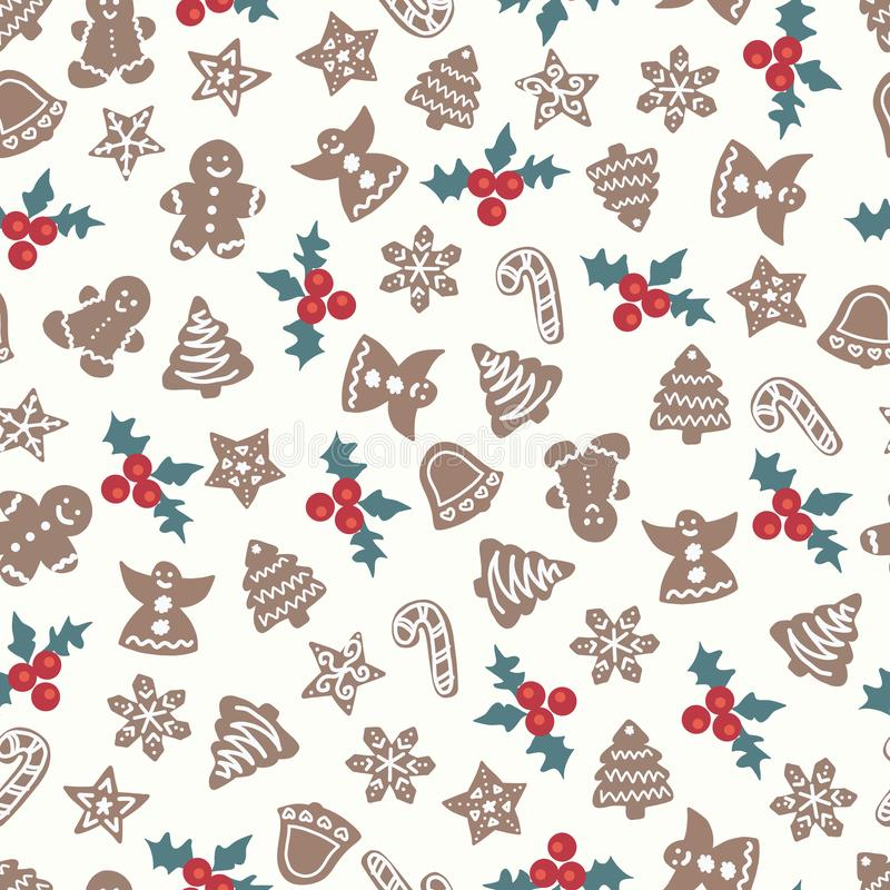 Christmas gingerbread cookies seamless pattern. Holiday vector background tree, bell, angel, candy cane, snowflake.  vector illustration