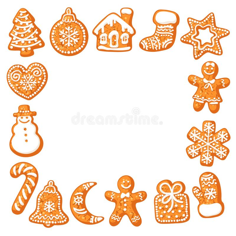 Christmas gingerbread cookies square frame. Hand drawn vector illustration isolated on white background. Hand drawn. Vector. Greeting card poster, invitation vector illustration