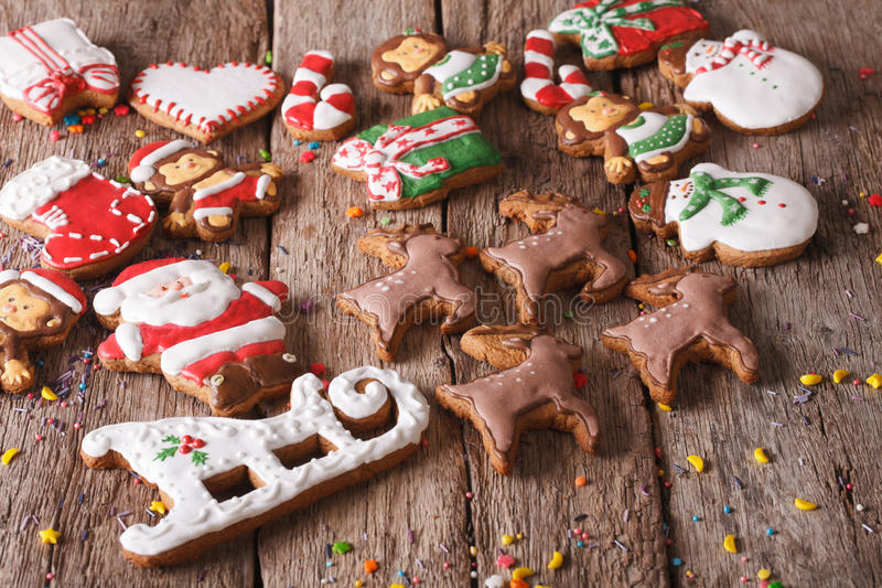 Christmas gingerbread cookies on a wooden table. horizontal stock images