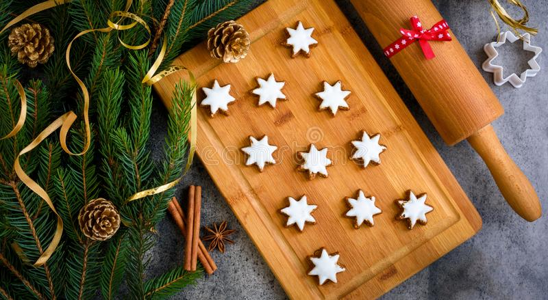 Christmas gingerbread with decoration. Top view. stock photos
