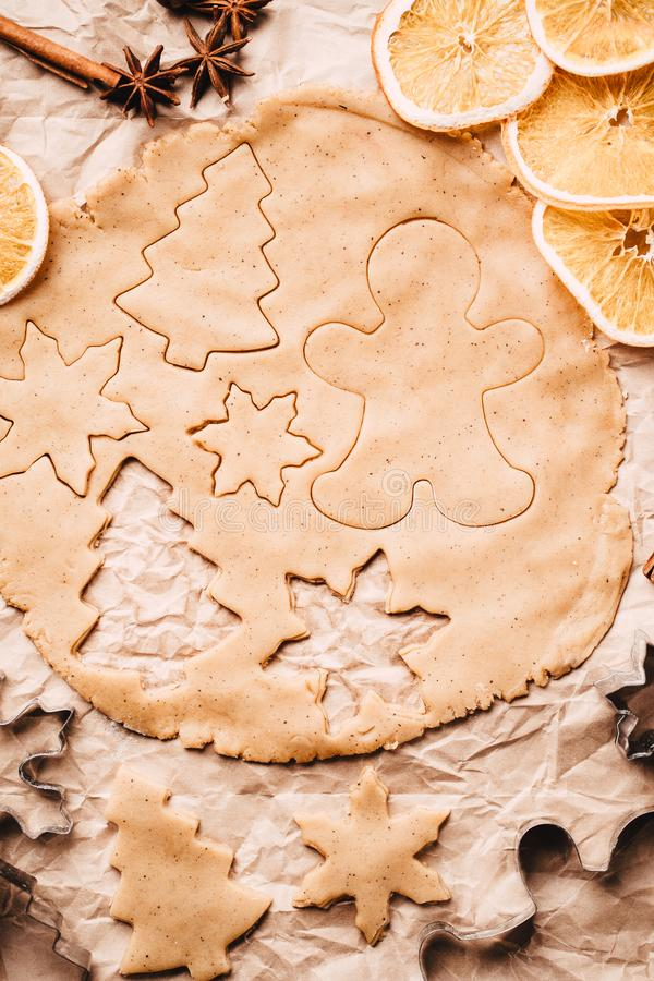 Christmas gingerbread dough and baking ingredients. Christmas and New Year celebration traditions. Family home bakery, cooking traditional festive sweets royalty free stock image