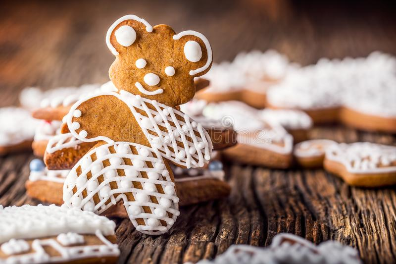 Christmas. Gingerbread family with christmas tree and christmas pastry.  stock image
