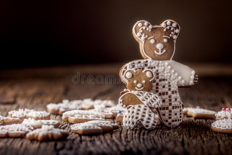 Christmas. Gingerbread family with christmas tree and christmas pastry.  stock images