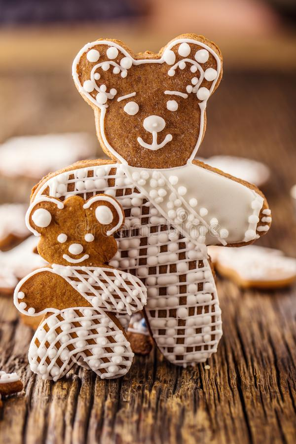 Christmas. Gingerbread family with christmas tree and christmas pastry.  stock photo