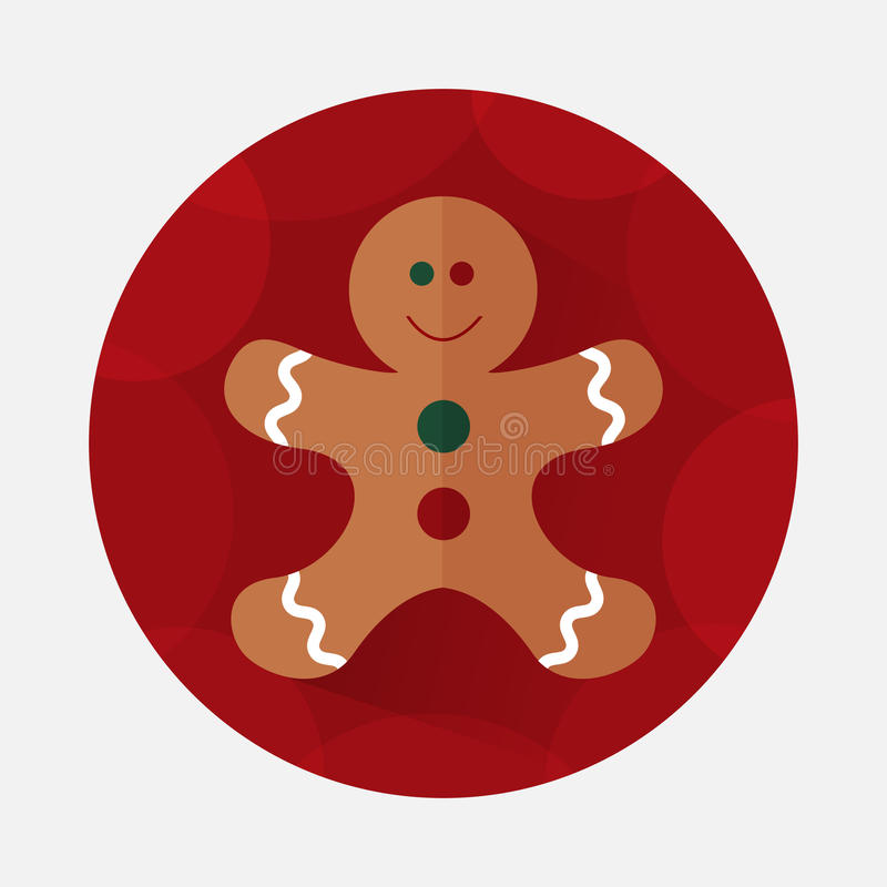 Christmas gingerbread flat icon with long shadow vector illustration