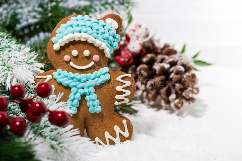 Christmas gingerbread man and Christmas tree. On a white background, closeup royalty free stock image