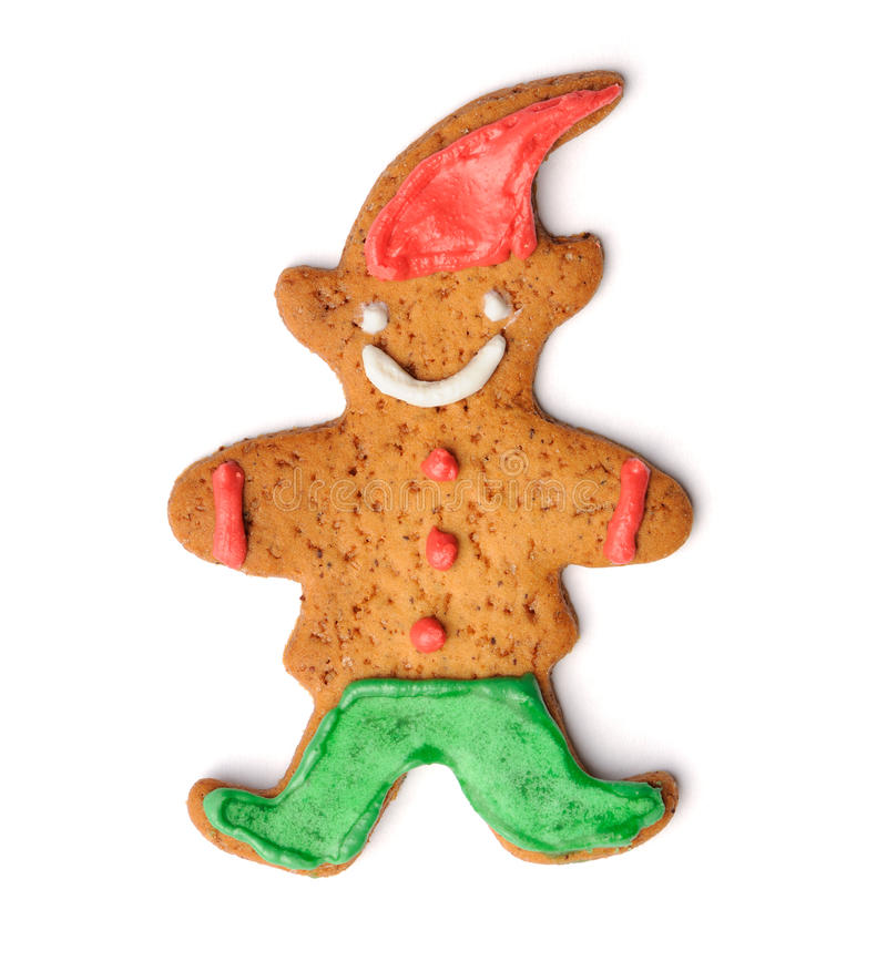 Christmas gingerbread man cookie. Isolated on white royalty free stock photo