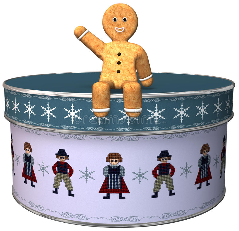 Christmas Gingerbread Man Cookie Isolated. A Christmas gingerbread man cookie is sitting on a can or tin of cookies. The happy guy is waving holiday wishes. The vector illustration