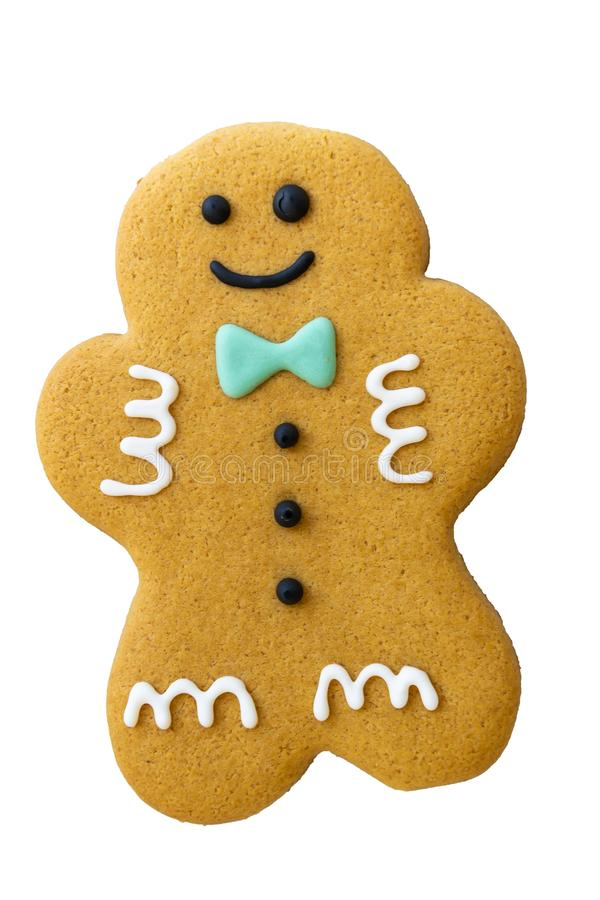 Christmas gingerbread man cookie isolated on white background. Xmas, biscuit, food, homemade, sweet, traditional, dessert, baked, decorated, festive, happy royalty free stock photography