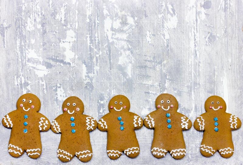 Christmas gingerbread man cookies. Border royalty free stock photo