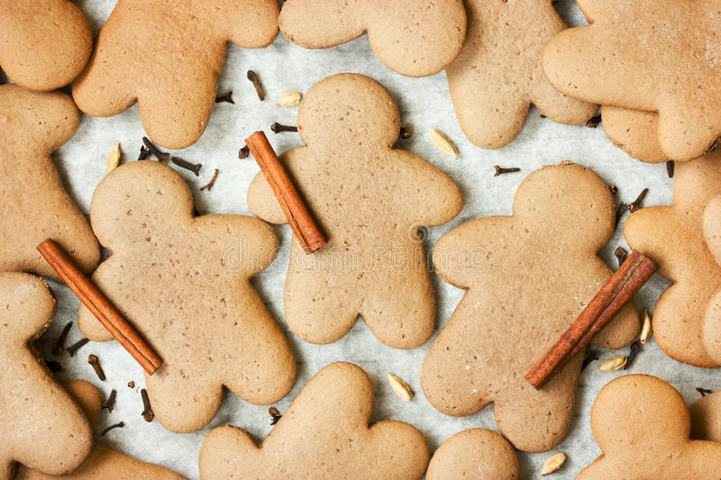 Christmas gingerbread man cookies. With spices on white background stock photos