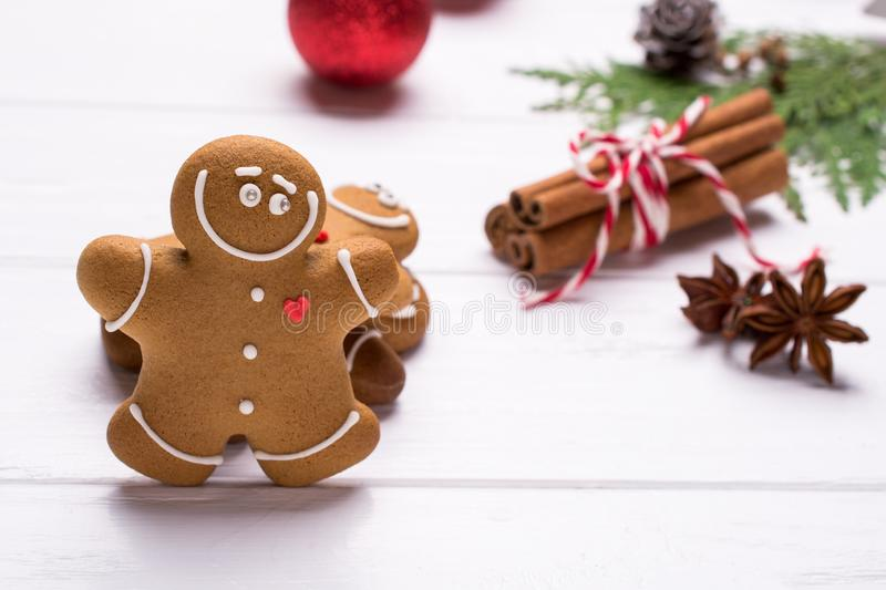 Christmas gingerbread man cookies - Christmas and New Year holiday background. On white with copy-space. Preparation for the holidays. Greeting card stock photos