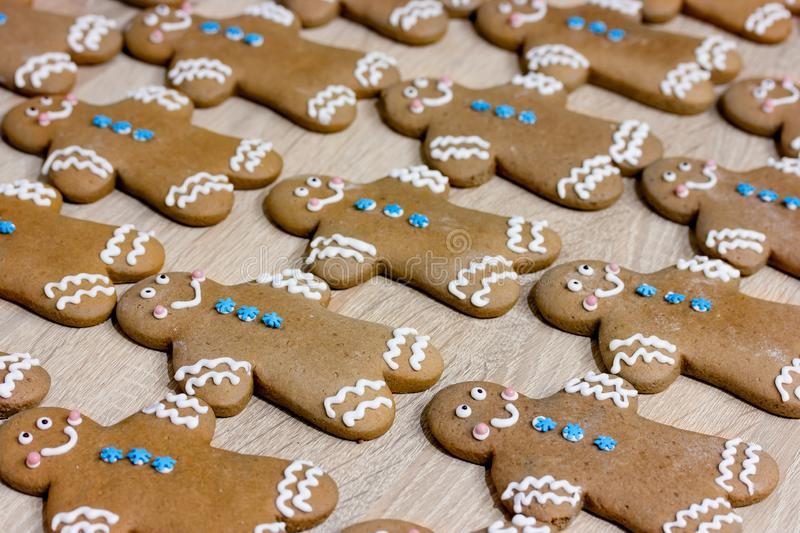 Christmas gingerbread man cookies. Decorated with icing for new year or christmas party, winter holiday, sweet homemade gift for kids royalty free stock photography