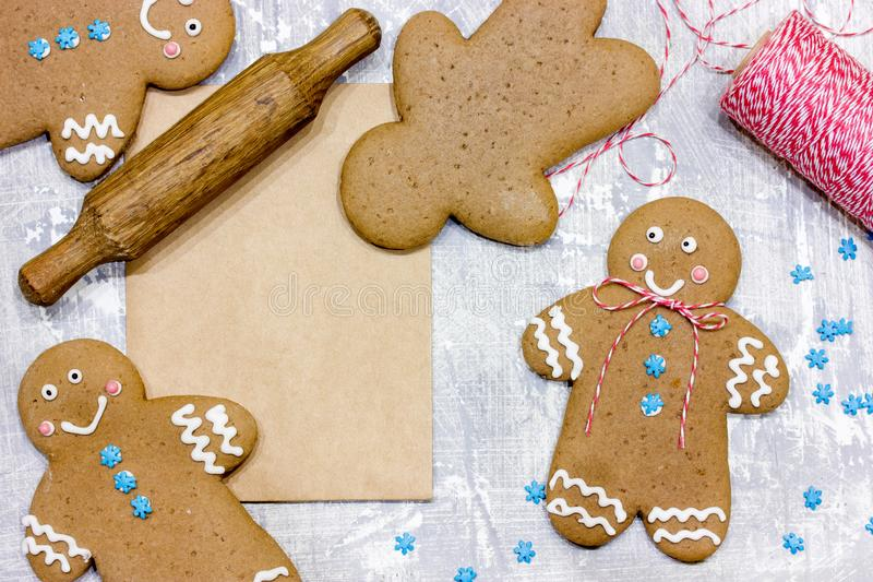 Christmas gingerbread man cookies. Decorated with icing for new year or christmas party, winter holiday, sweet homemade gift for kids royalty free stock image