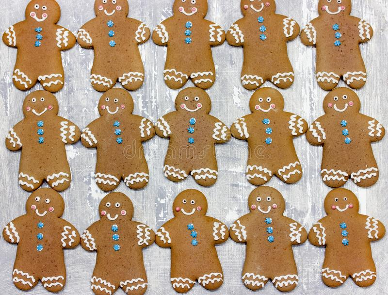 Christmas gingerbread man cookies. Decorated with icing for new year or christmas party, winter holiday, sweet homemade gift for kids royalty free stock photo