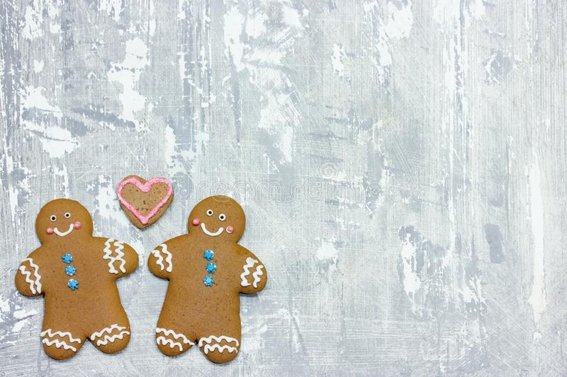 Christmas gingerbread man cookies. Decorated with icing for new year or christmas party, winter holiday, sweet homemade gift for kids stock images