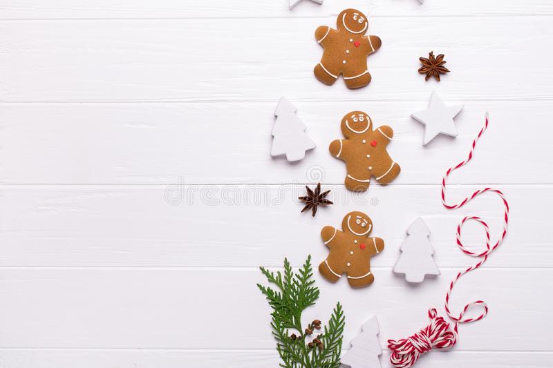 Christmas gingerbread man cookies - Christmas and New Year holiday background Top view. Preparation for the holidays. Greeting card royalty free stock images