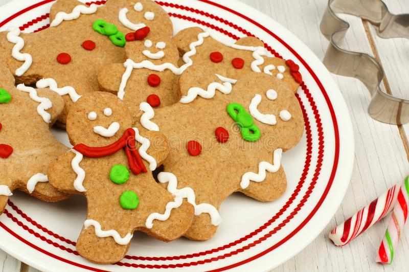 Christmas gingerbread man cookies on a plate close up stock images