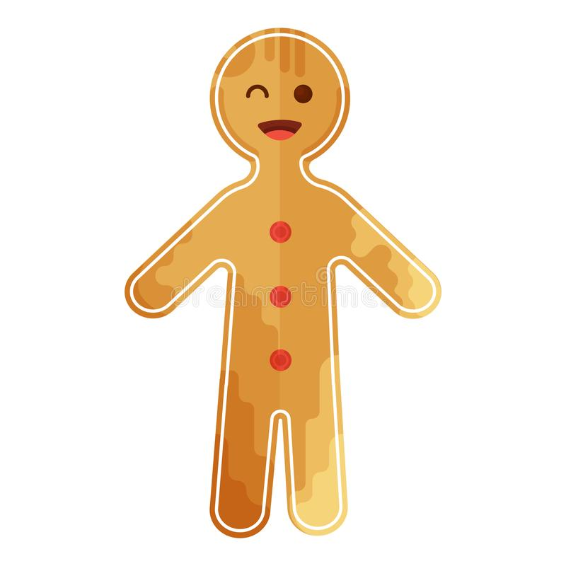 Christmas gingerbread man icon in creative flat style vector illustration