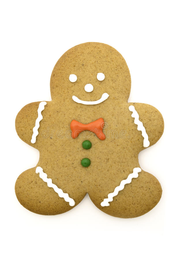 Christmas gingerbread man. Picture of an christmas gingerbread man. Isolated on white royalty free stock photography