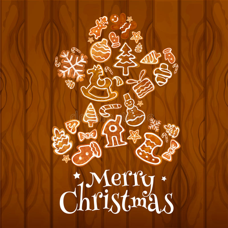 Christmas gingerbread man on wooden background. Christmas gingerbread man on wooden plank background with gift box, snowman, xmas tree, sock, bauble, snowflake stock illustration