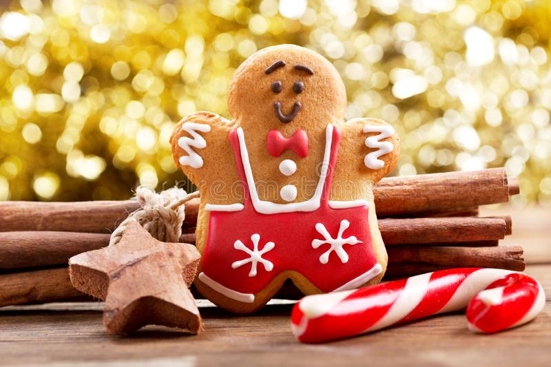 Christmas gingerbread man on wooden table. Christmas food. christmas gingerbread man on wooden table royalty free stock image