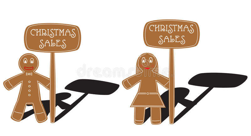 Christmas gingerbread pair stock illustration